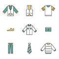 Clothing garments and accessories icons flat linear style Royalty Free Stock Images