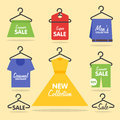 Clothing hangers SALE signage and banners Royalty Free Stock Photo