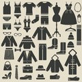 Clothing icons set of vector illustration Stock Photography