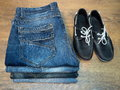 Clothing jeans moccasin shoes Royalty Free Stock Photo