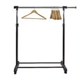 Clothing rack basic moble and adjustable garment with hangers Stock Image
