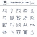 Clothing repair, alterations flat line icons set. Tailor store services - dressmaking, clothes steaming, curtains sewing Royalty Free Stock Photo