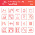 Clothing repair, alterations flat line icons set. Tailor store services - dressmaking, clothes steaming, curtains sewing