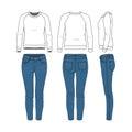 Clothing set. Raglan sweatshirt, jeans.