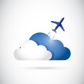 Cloud and airplane cloud currency concept illustration design over a white background Stock Photos