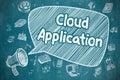 Cloud Application - Cartoon Illustration on Blue Chalkboard.