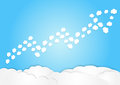Cloud arrange in arrow shape, increase concept, business background