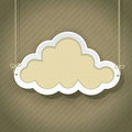Cloud as retro sign on vintage background Royalty Free Stock Photo