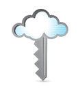 Cloud binary key illustration design over white Stock Images