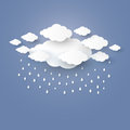Cloud in the Blue sky with rain paper art stlye. illustra