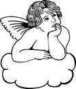 Cloud cherub simple black and white illustration on a musing on a Royalty Free Stock Photo