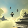 Cloud city d rendered scifi with clouds and space ship Stock Photography
