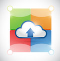 Cloud and color blocks ready for customization illustration design over white Stock Photo