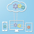 Cloud computer internet technology concept with co and smart phone and tablet pc connection in vector Stock Image
