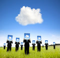 Cloud computing and business thinking concept businessman showing board on the field Royalty Free Stock Photo