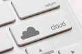 Cloud computing button key on white keyboard Royalty Free Stock Photos