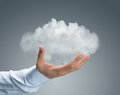 Cloud computing close up male hand holding cloud copy space Royalty Free Stock Images