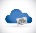 Cloud computing cloud solutions hanging banner illustration design over white Stock Photography