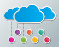 Cloud computing clouds storage with hanging signs concept Royalty Free Stock Images