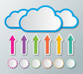 Cloud computing clouds stroge with arrow and circle sign concept Stock Photos