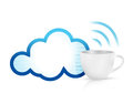 Cloud computing coffee mug concept illustration design over white Royalty Free Stock Photos