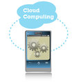Cloud computing concept abstract colorful background with smartphone getting connected to a Royalty Free Stock Images