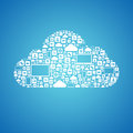 Cloud computing concept abstract vector of with many graphic icons which form a shape isolated on blue background Royalty Free Stock Images