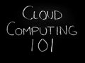 Cloud computing concept on blackboard Stock Photos