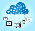 Cloud computing concept on blue background Stock Image