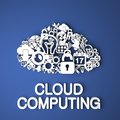 Cloud computing concept card handmade from paper characters on blue background d render business Stock Photo