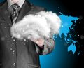 Cloud computing concept close up of young businessman with over his hand Royalty Free Stock Photo