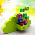 Cloud computing concept in color background Stock Photography