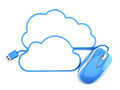 Cloud computing concept design mouse with cord in the shape of the clouds Royalty Free Stock Photo