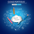 Cloud computing concept with doodle skeches infographics icons hand drawn of maths graphs notes pencils mail and so on Stock Photography
