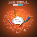 Cloud computing concept with doodle skeches infographics icons hand drawn of maths graphs notes pencils mail and so on Royalty Free Stock Photography
