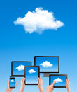 Cloud computing concept hand with blue sky and wh white vector Stock Photography