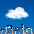 Cloud computing concept hands holding computer laptop smart phone tablet and touch pad Royalty Free Stock Photography