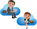 Cloud computing concept illustration featuring smiling business woman meg and business man bob working with computer sitting on a Royalty Free Stock Images