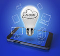 Cloud computing concept with mobile phone Royalty Free Stock Photo