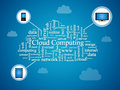 Cloud computing concept over blue background Stock Photos