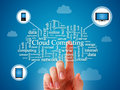 Cloud computing concept over blue background Stock Image