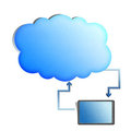 Cloud computing concept,Tablet synchronize with cl Stock Photo