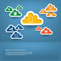 Cloud computing concept with web icons set flat design in modern in vintage colors Royalty Free Stock Images