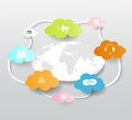 Cloud computing concept and white world map Stock Image