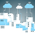 Cloud computing connectivity paper cutout city network wifi internet concept eps grouped and layered contains blends and Stock Photo