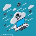 Cloud computing, data processing vector concept