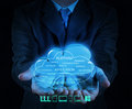 A Cloud Computing diagram on the new computer interface Royalty Free Stock Photo