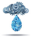 Cloud computing distribution technology concept with a group of gear and cog wheels connected together raining down a water drop Royalty Free Stock Images