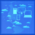Cloud computing dynamic illustration great for web print or applications Royalty Free Stock Image
