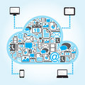 Cloud computing with file icon in blue background Stock Photos